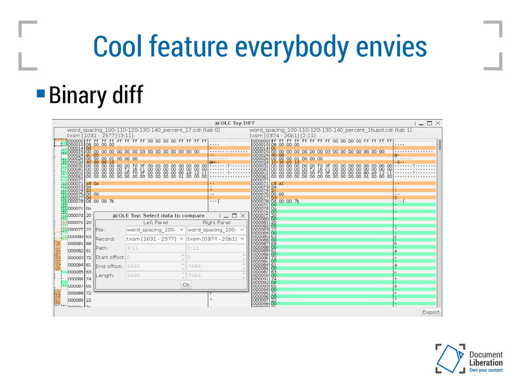 Cool feature everybody envies  Binary diff