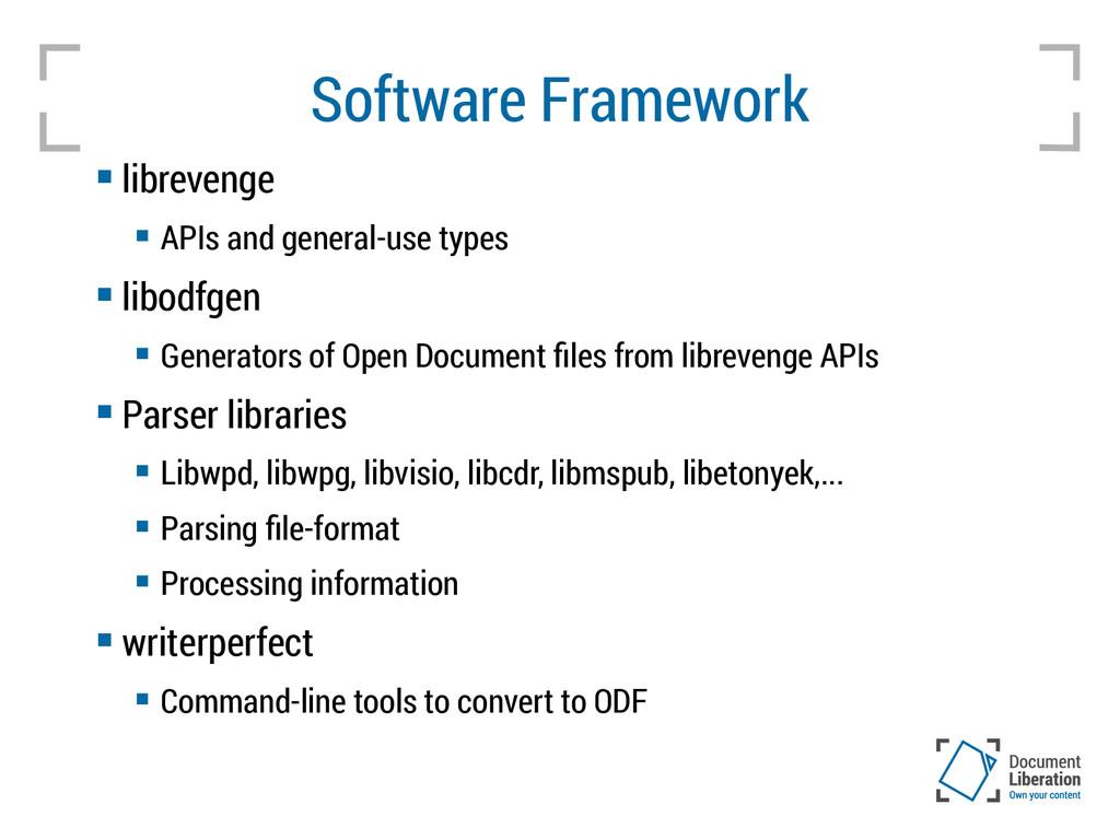 Software Framework  librevenge  APIs and gene...