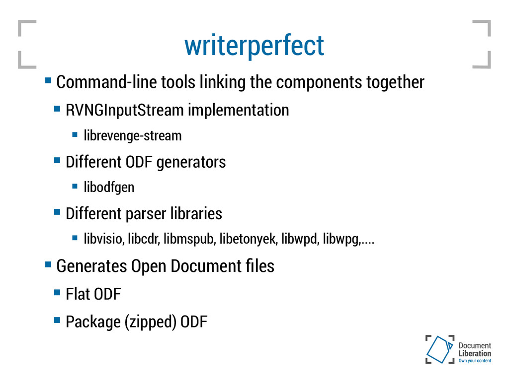 writerperfect  Command-line tools linking the ...