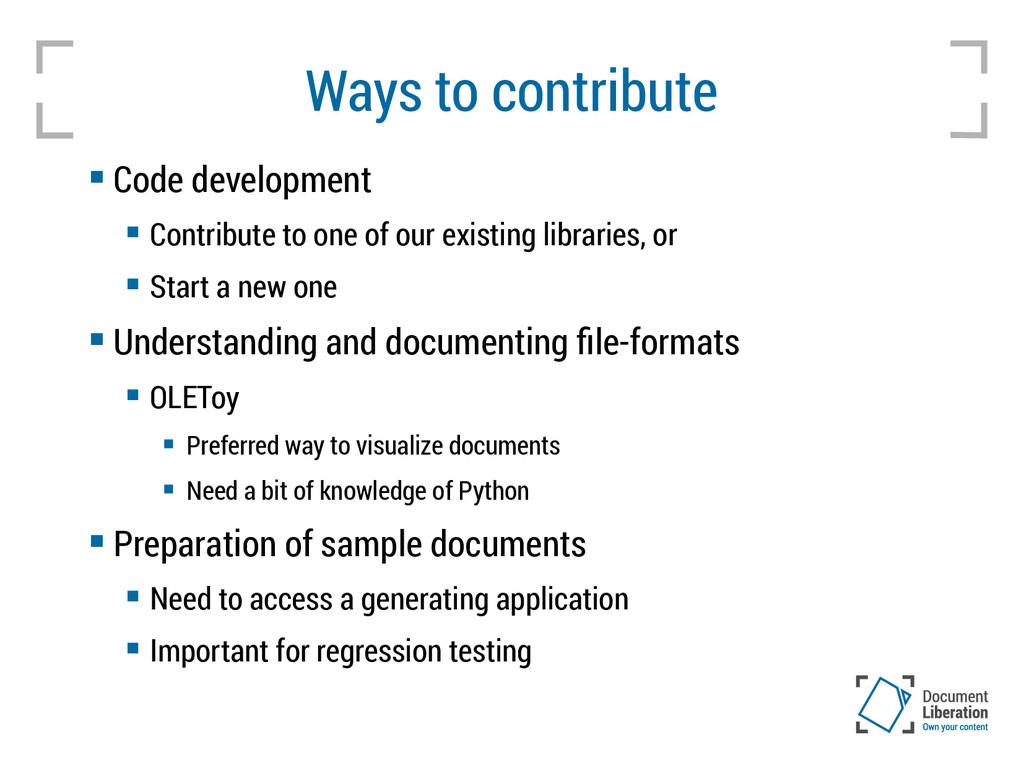 Ways to contribute  Code development  Contrib...