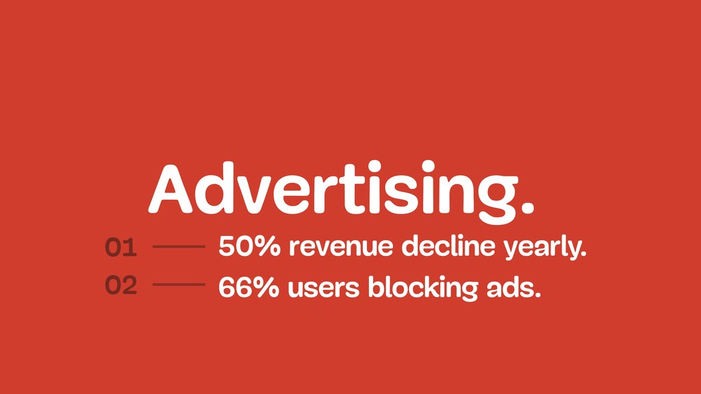 Advertising. 50% revenue decline yearly. 01 02 ...