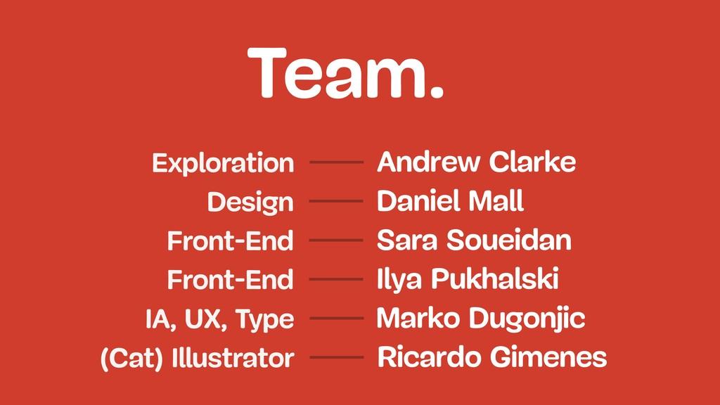 Team. Daniel Mall Design Front-End Sara Soueida...