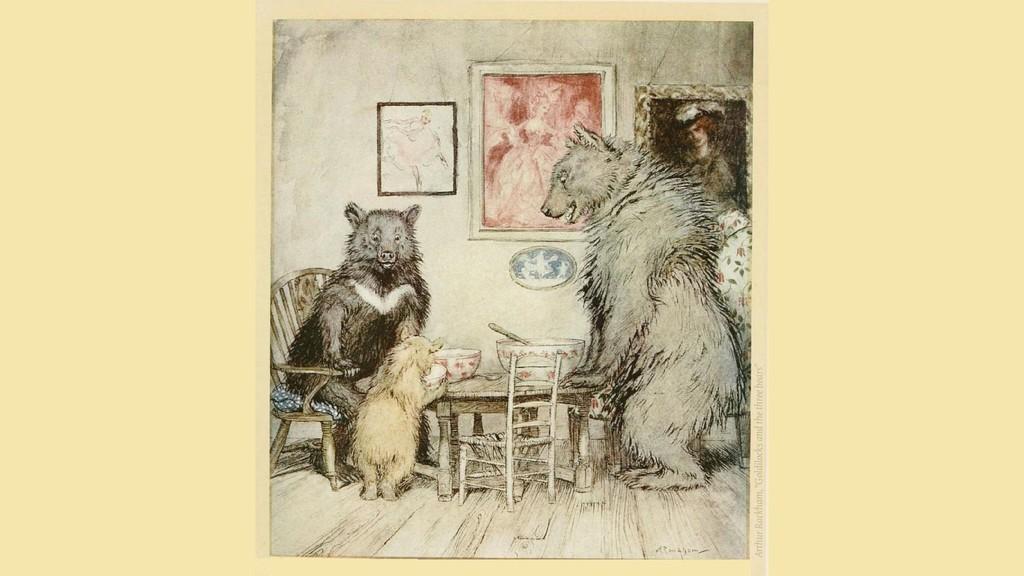 "Arthur Rackham, ""Goldilocks and the three bears"""