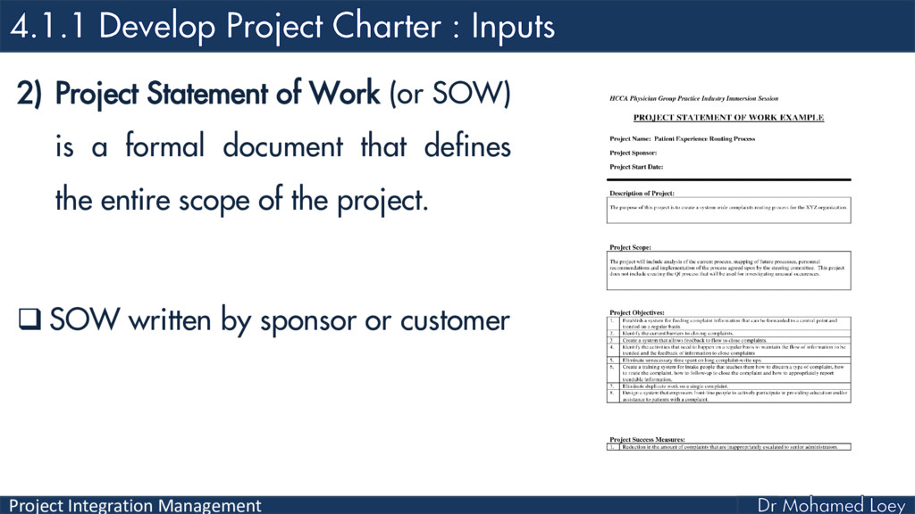 Project Integration Management 2) Project State...
