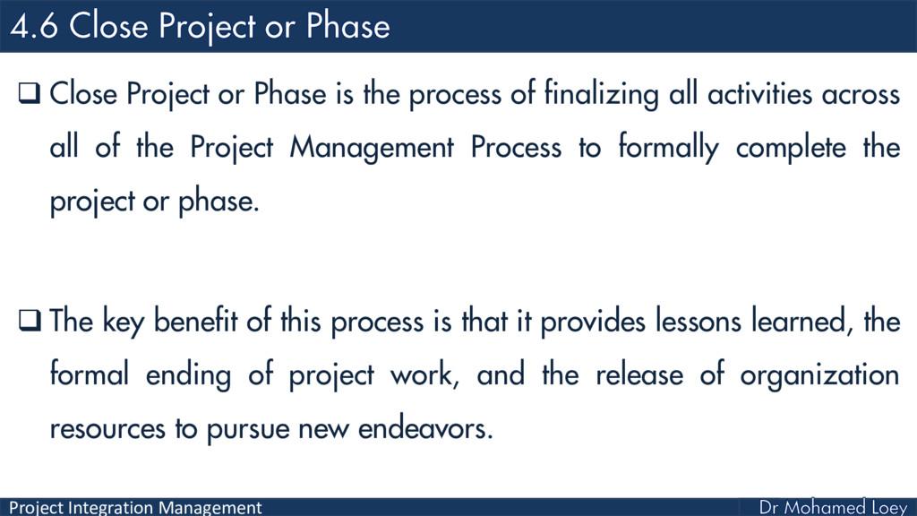 Project Integration Management  Close Project ...
