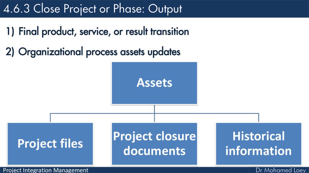 Project Integration Management 1) Final product...