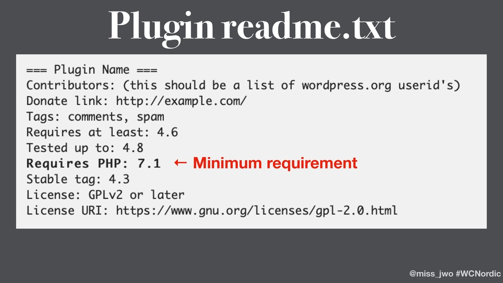 ← Minimum requirement Plugin readme.txt @miss_j...