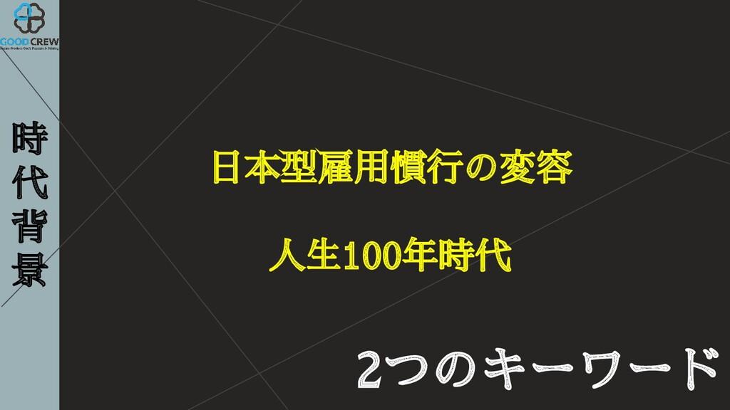 時 代 背 景 2つのキーワード 日本型雇用慣行の変容 人生100年時代