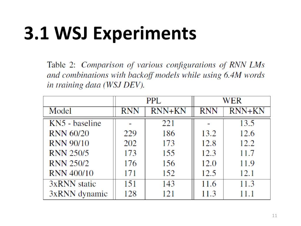 3.1 WSJ Experiments 11