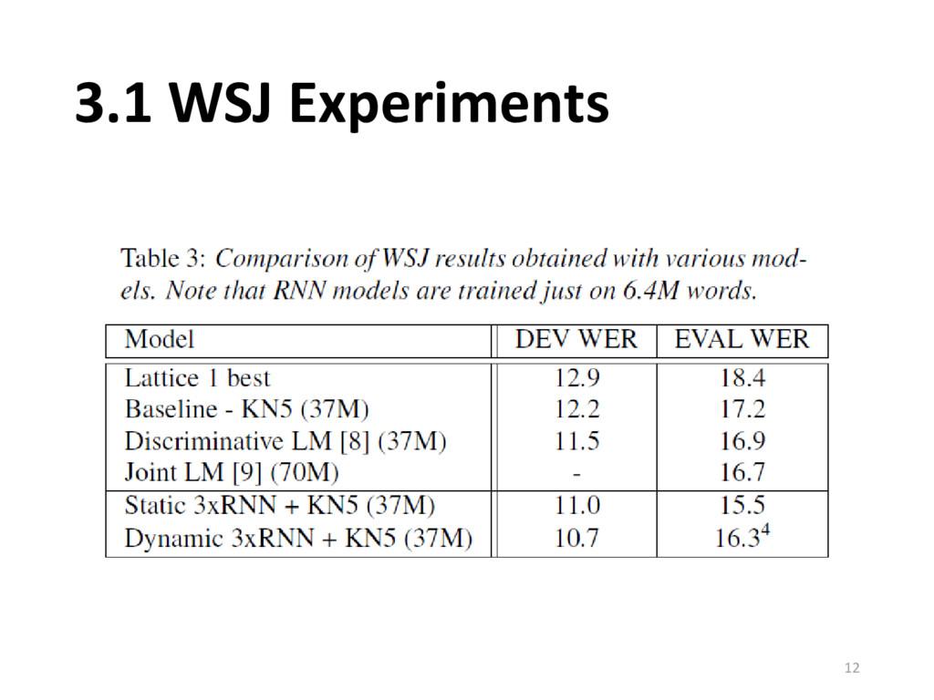 3.1 WSJ Experiments 12