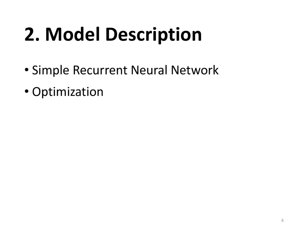 2. Model Description • Simple Recurrent Neural ...