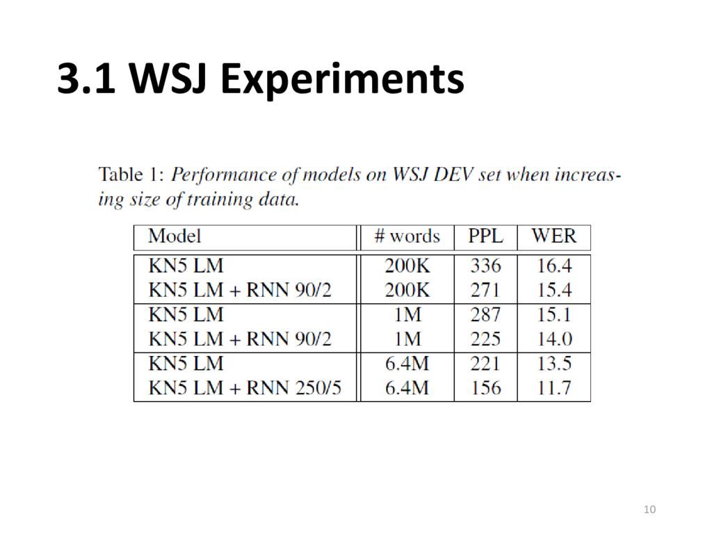 3.1 WSJ Experiments 10