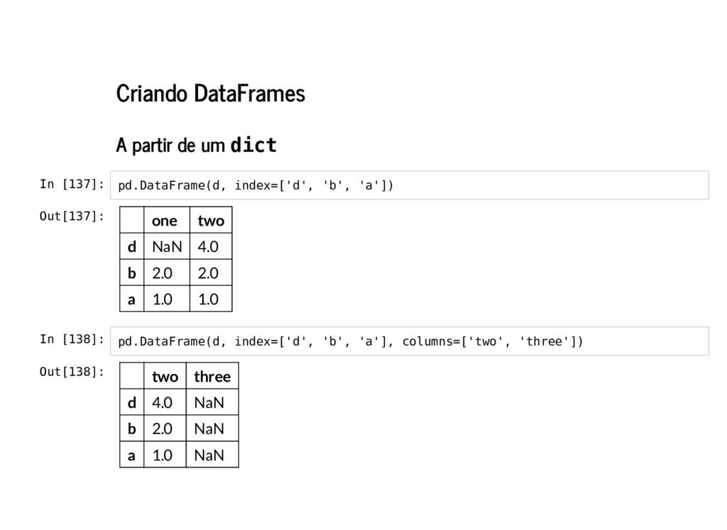Criando DataFrames A partir de um dict In [137]...