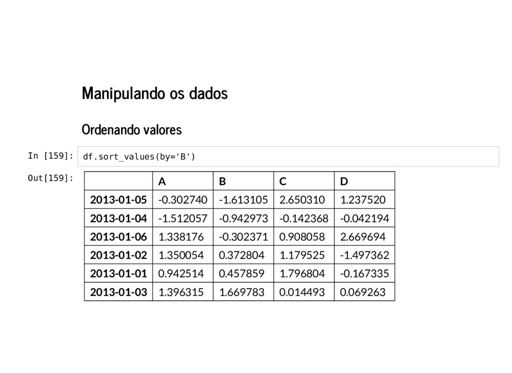 Manipulando os dados Ordenando valores In [159]...