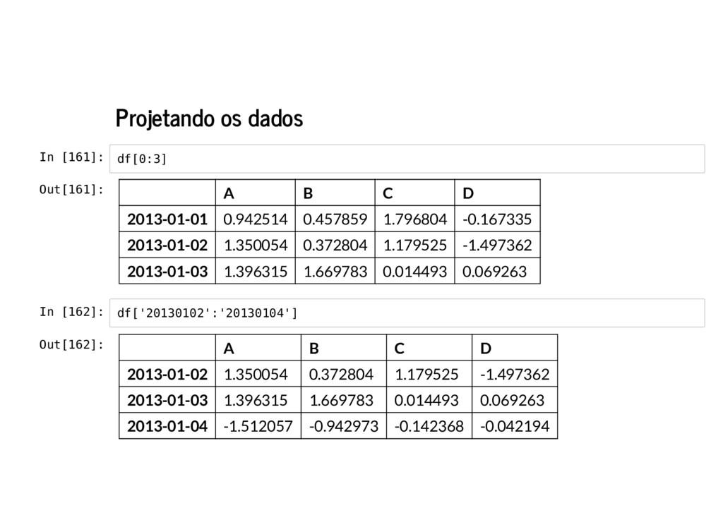 Projetando os dados In [161]: In [162]: df[0:3]...