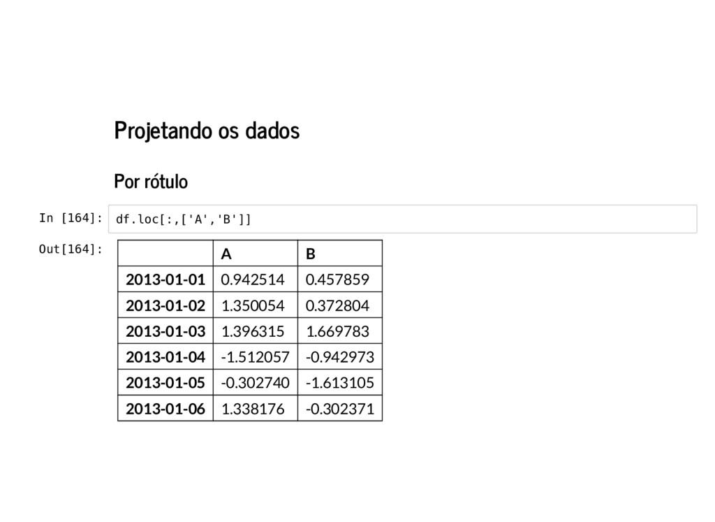 Projetando os dados Por rótulo In [164]: df.loc...