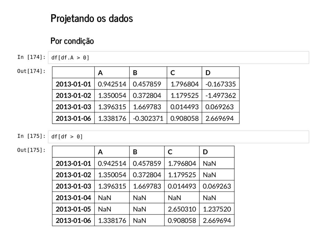 Projetando os dados Por condição In [174]: In [...
