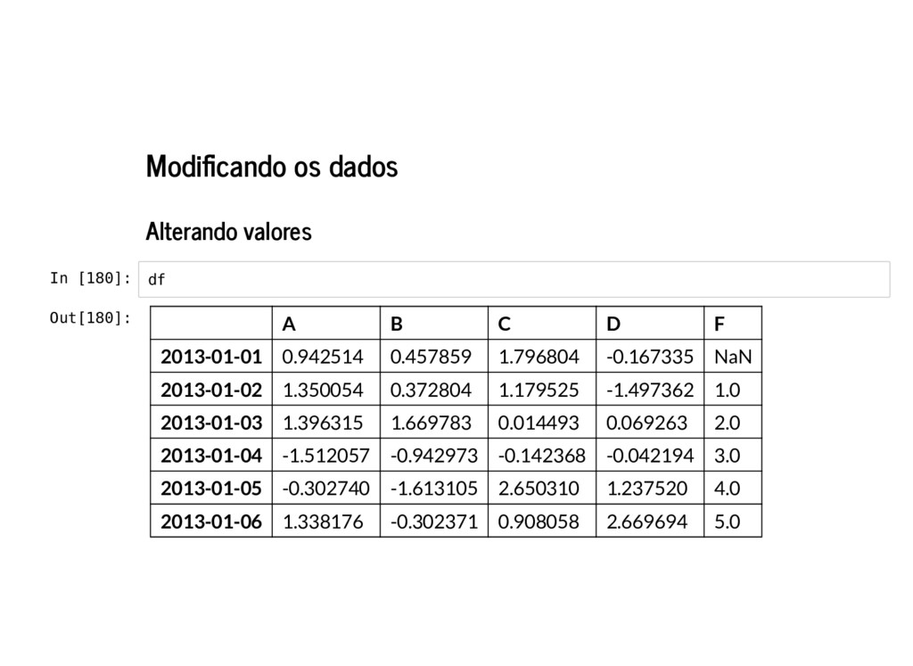 Modi cando os dados Alterando valores In [180]:...