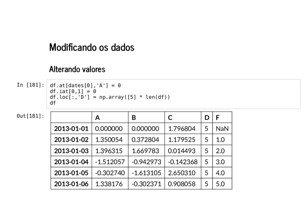 Modi cando os dados Alterando valores In [181]:...