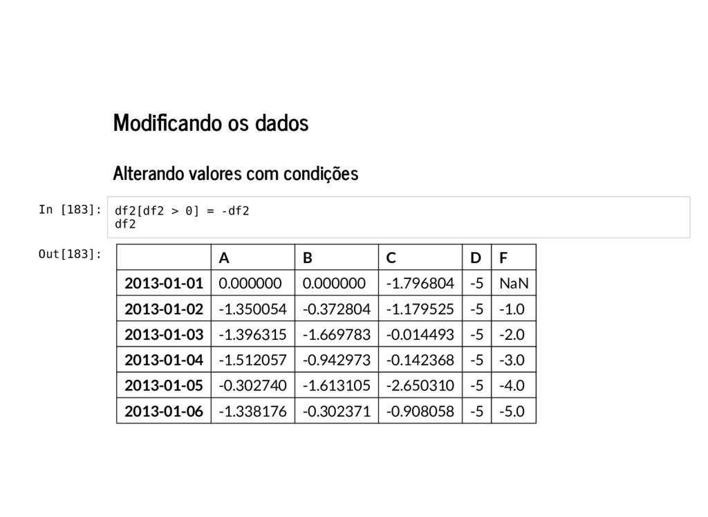 Modi cando os dados Alterando valores com condi...