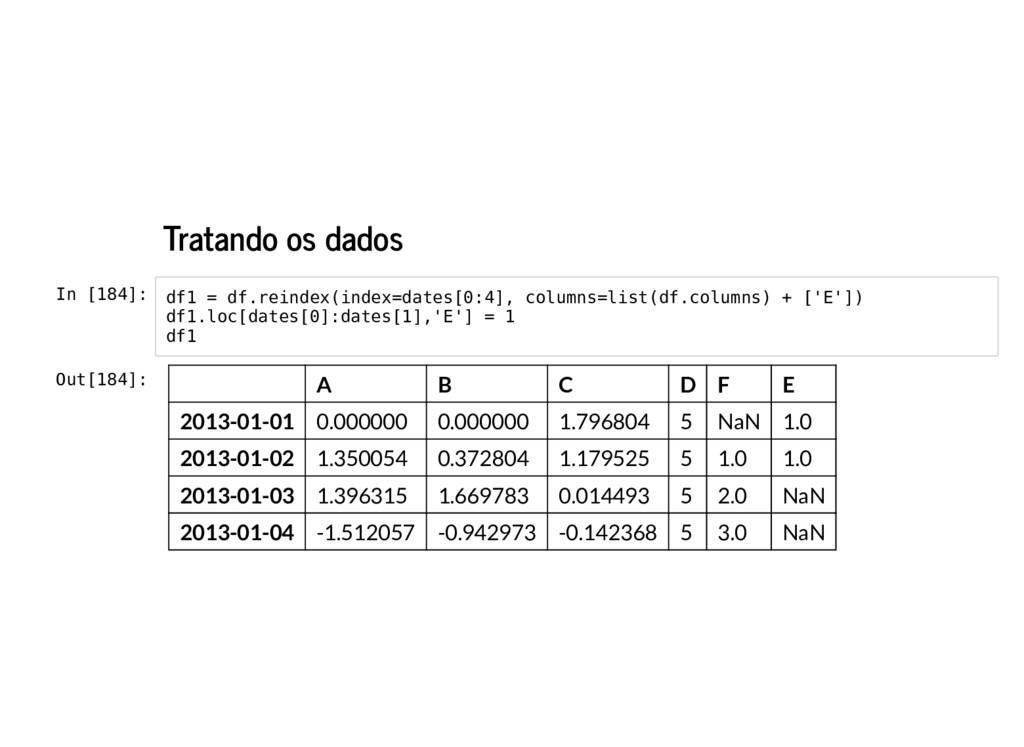 Tratando os dados In [184]: df1 = df.reindex(in...