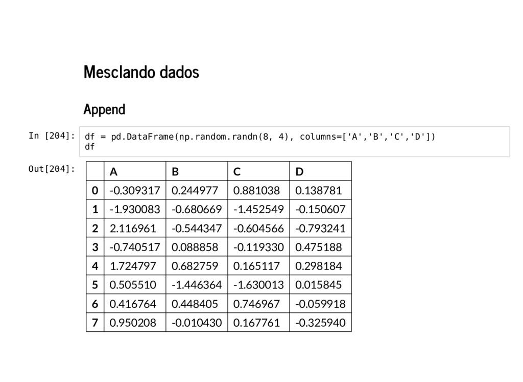Mesclando dados Append In [204]: df = pd.DataFr...