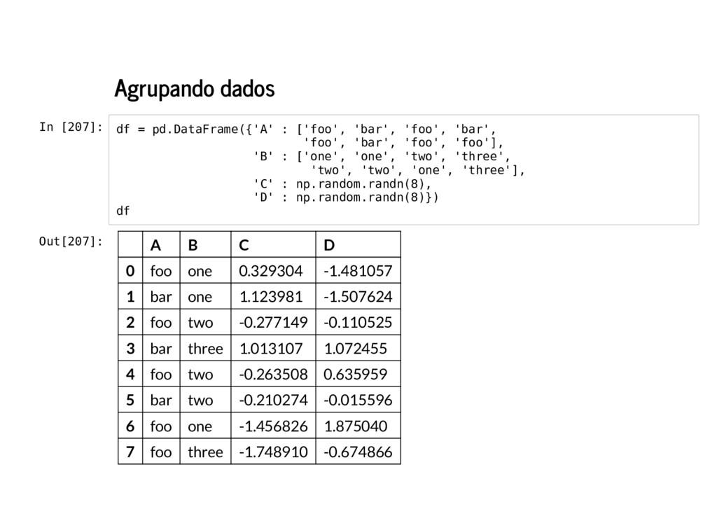 Agrupando dados In [207]: df = pd.DataFrame({'A...