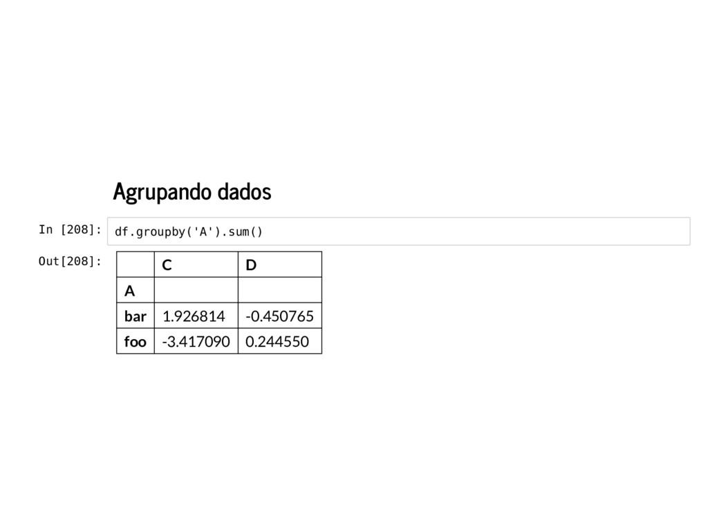 Agrupando dados In [208]: df.groupby('A').sum()...