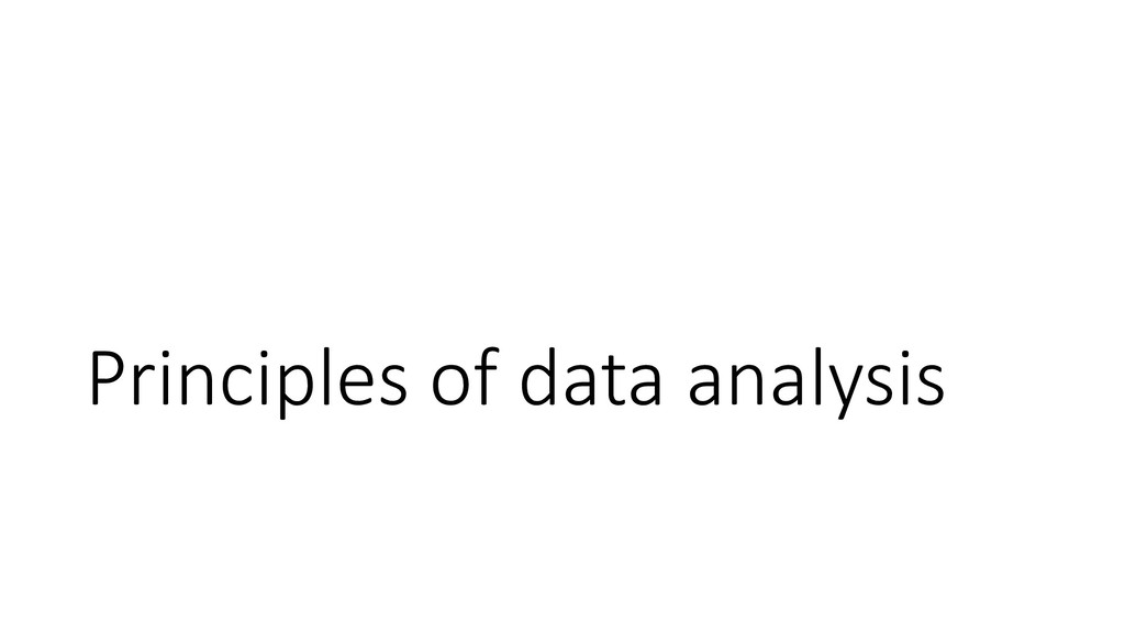 Principles of data analysis