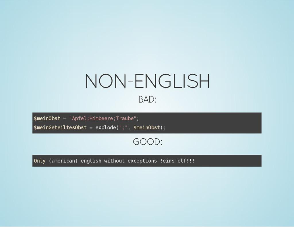 "NON-ENGLISH BAD: $ m e i n O b s t = "" A p f e ..."