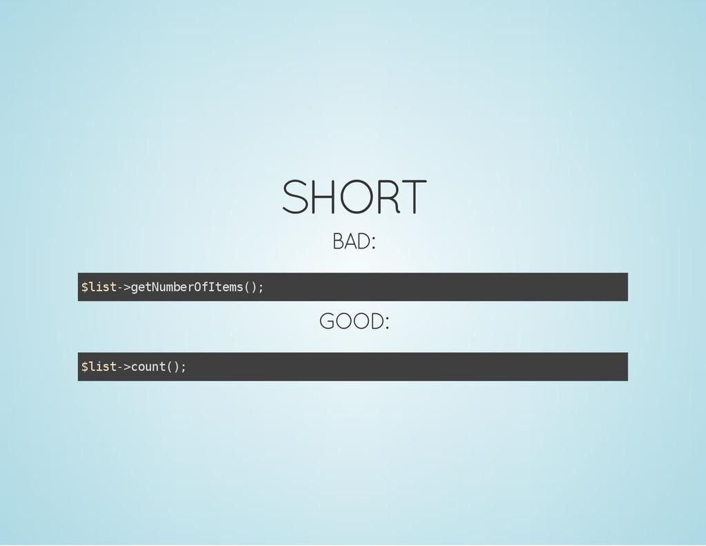 SHORT BAD: $ l i s t - > g e t N u m b e r O f ...