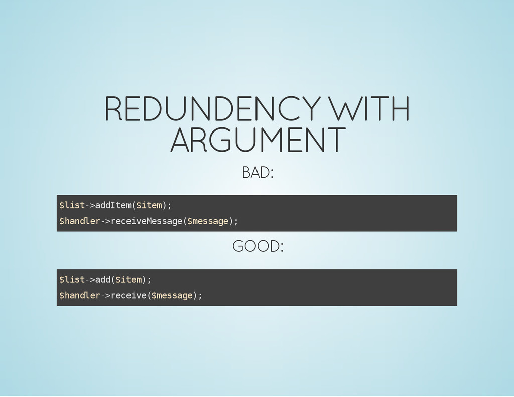 REDUNDENCY WITH ARGUMENT BAD: $ l i s t - > a d...