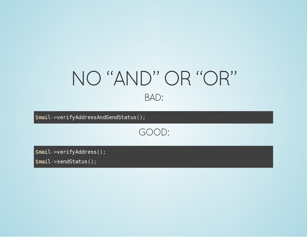 "NO ""AND"" OR ""OR"" BAD: $ m a i l - > v e r i f y..."