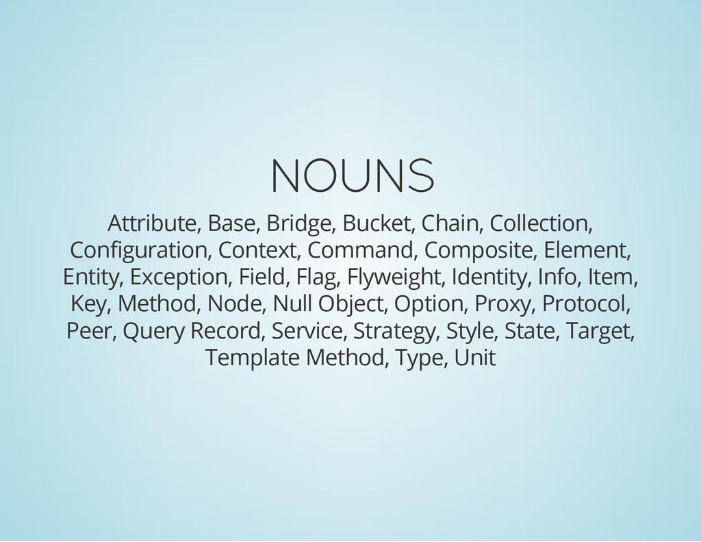 NOUNS Attribute, Base, Bridge, Bucket, Chain, C...