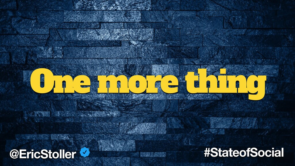 One more thing @EricStoller #StateofSocial