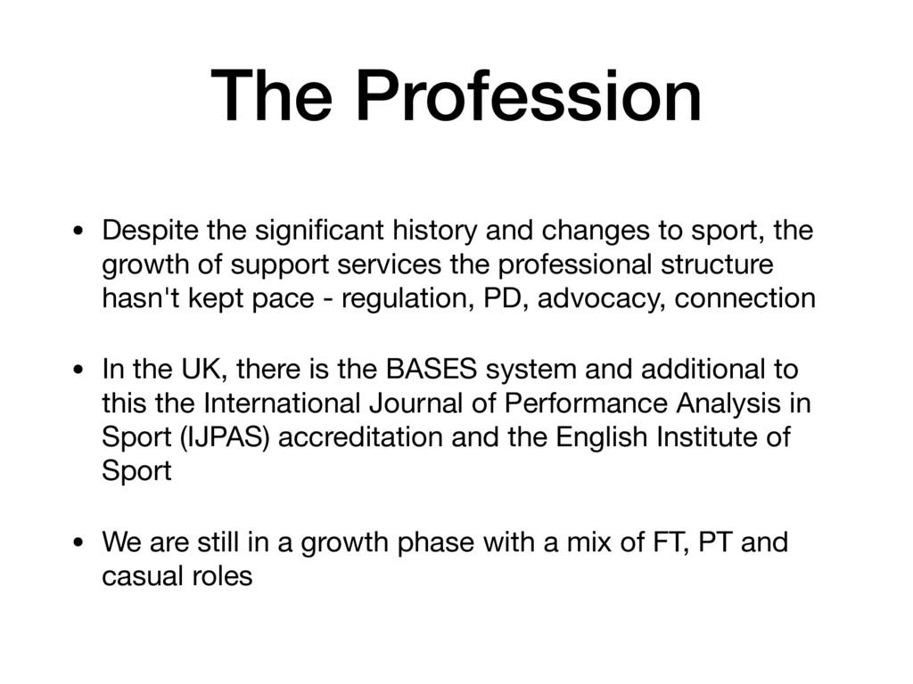 The Profession • Despite the significant history...