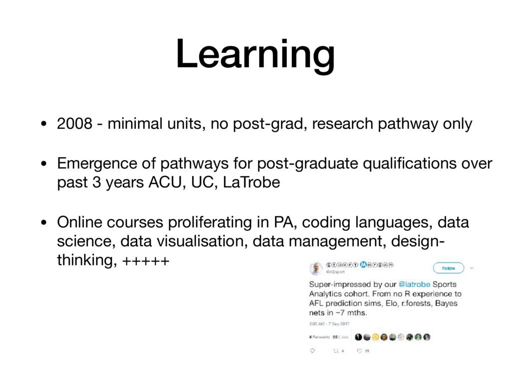 Learning • 2008 - minimal units, no post-grad, ...
