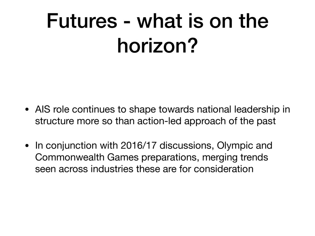Futures - what is on the horizon? • AIS role co...