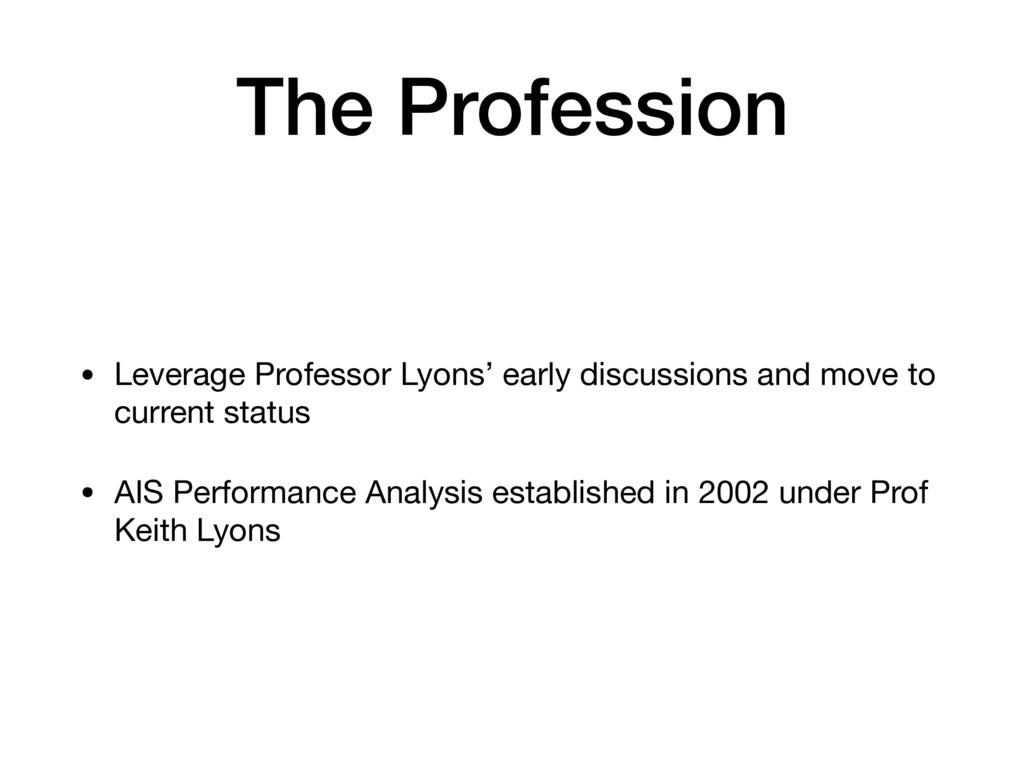The Profession • Leverage Professor Lyons' earl...