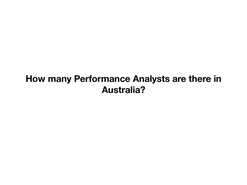 How many Performance Analysts are there in Aust...