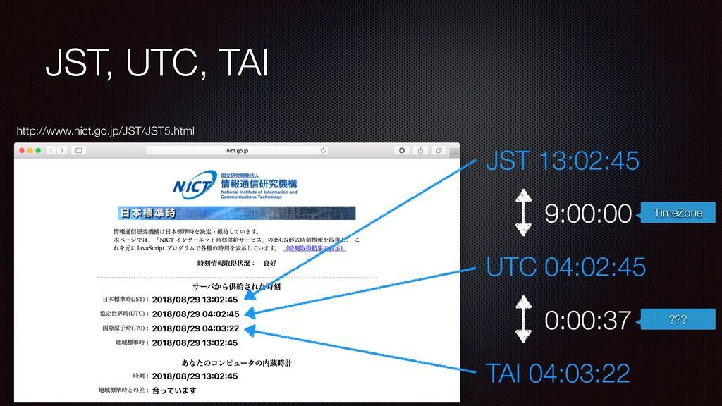 JST, UTC, TAI http://www.nict.go.jp/JST/JST5.ht...