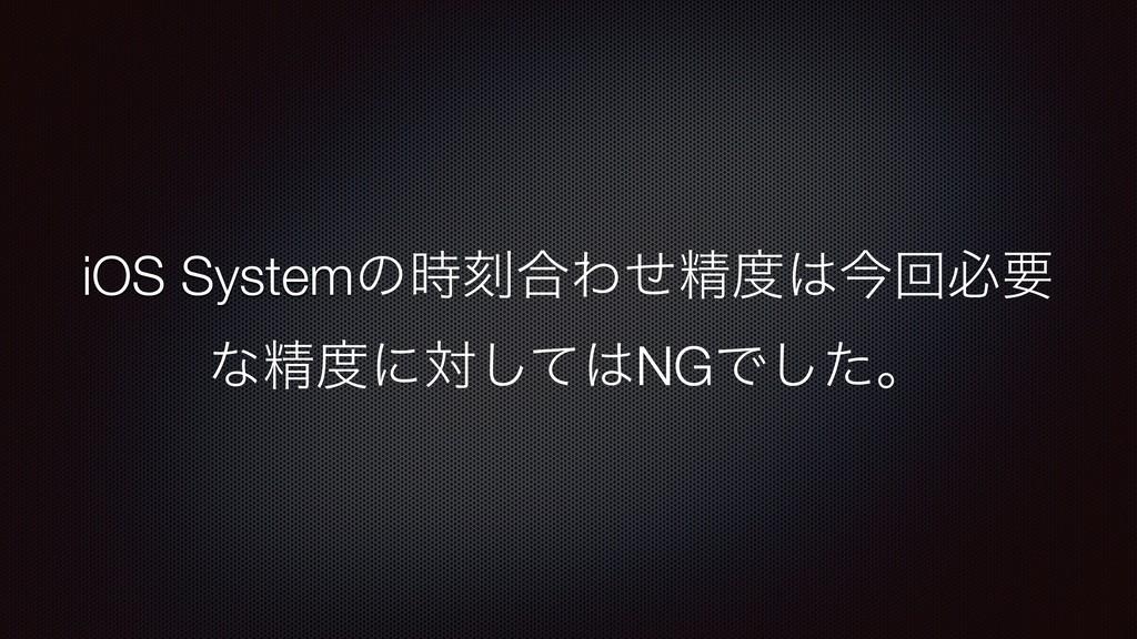 iOS Systemͷࠁ߹Θͤਫ਼ࠓճඞཁ ͳਫ਼ʹରͯ͠NGͰͨ͠ɻ