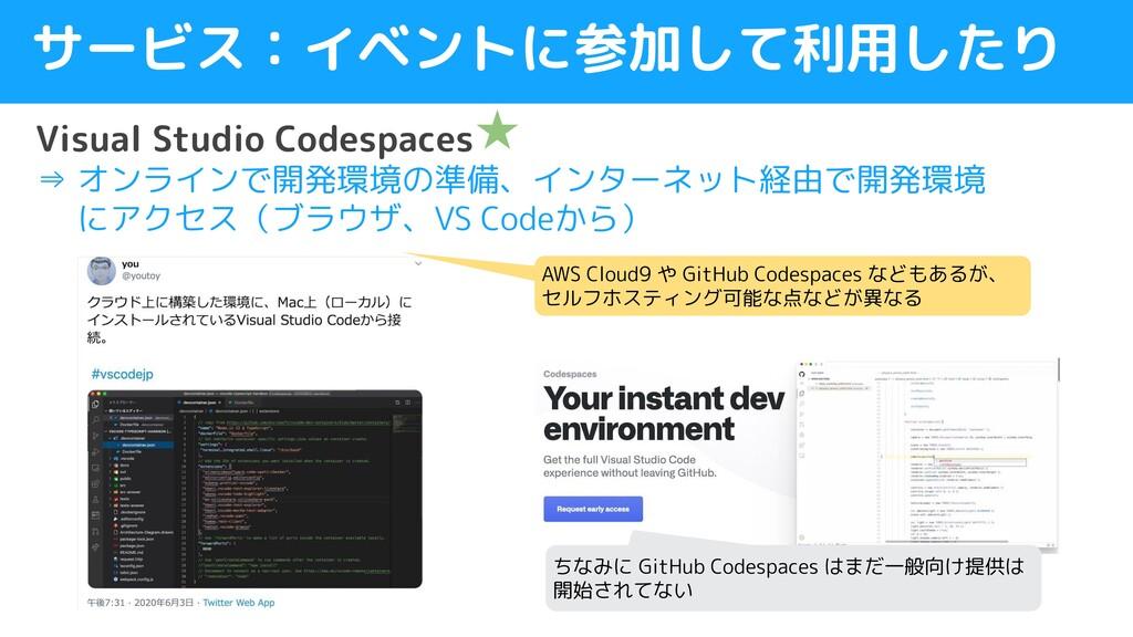 サービス:イベントに参加して利用したり Visual Studio Codespaces ⇒ ...