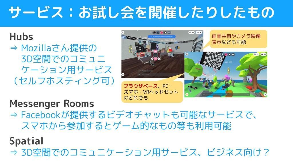 サービス:お試し会を開催したりしたもの Hubs ⇒ Mozillaさん提供の   3D空間で...