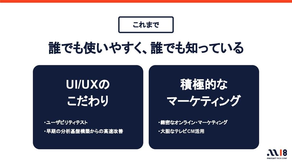 UI/UXの こだわり ・緻密なオンライン・マーケティング ・大胆なテレビCM活用 誰でも使い...