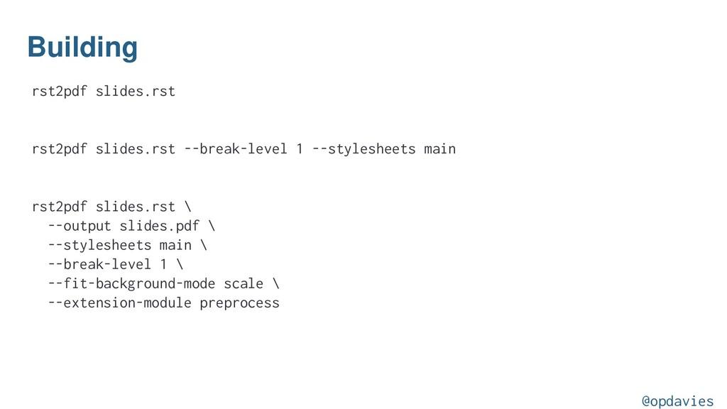 Building rst2pdf slides.rst rst2pdf slides.rst ...