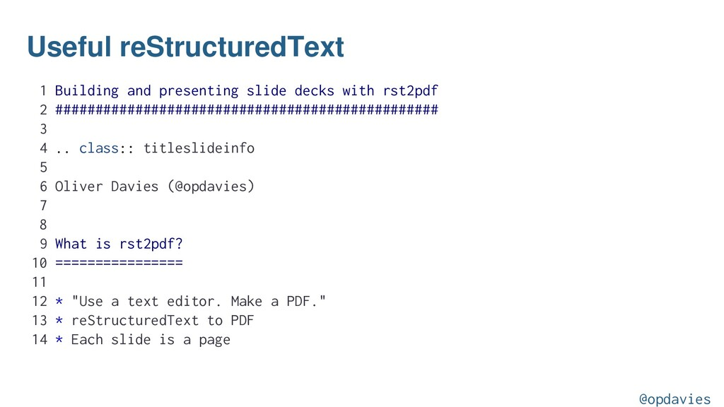 Useful reStructuredText 1 Building and presenti...