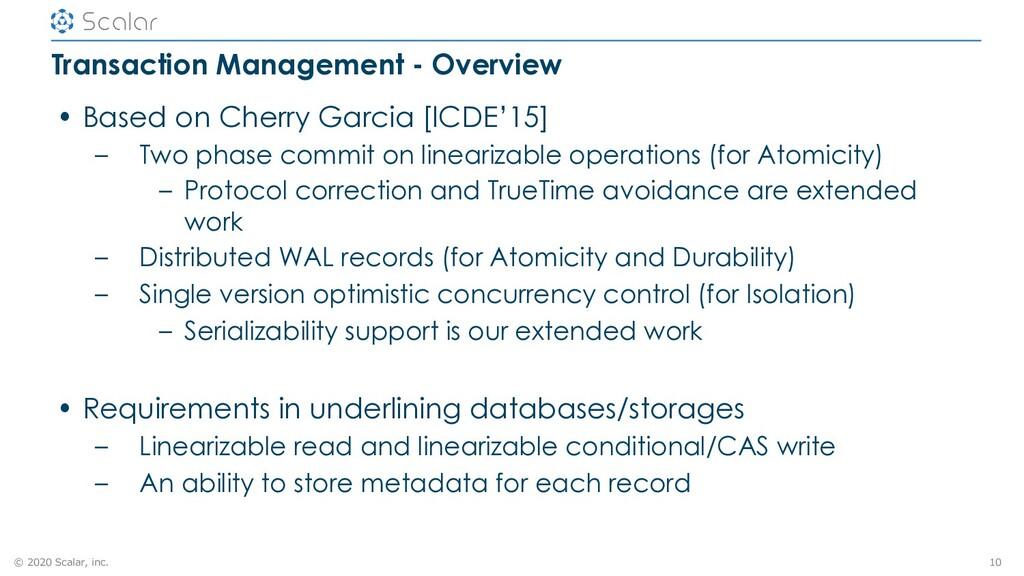 © 2020 Scalar, inc. Transaction Management - Ov...