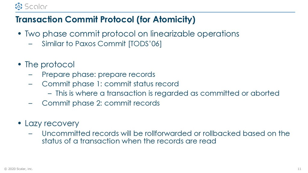 © 2020 Scalar, inc. Transaction Commit Protocol...