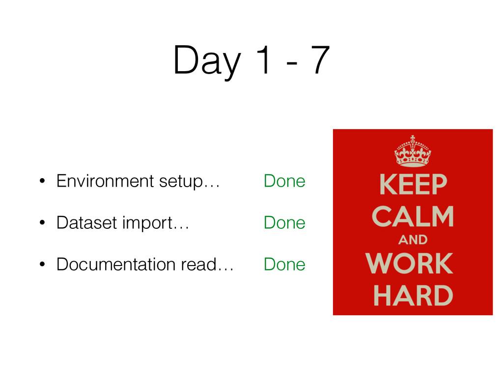 Day 1 - 7 • Environment setup… • Dataset import...